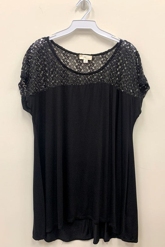 Short Sleeve Top with Lace Detail ~ Plus Size