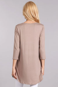 3/4 sleeve tunic relaxed fit scoop neck & cross detail