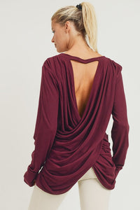 Long sleeve open overlay draped back top