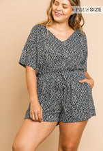Animal Print Short Sleeve V-Neck Short Romper