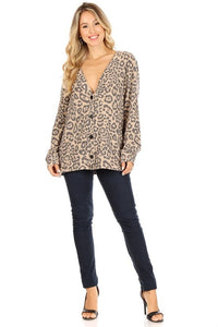 Leopard print long sleeve top with v-neckline