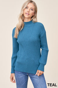 High Neck Ribbed Sweater Balloon Sleeves