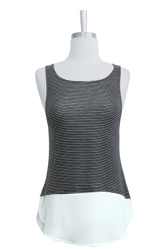 Stripe waist length sleeveless tank IT7502