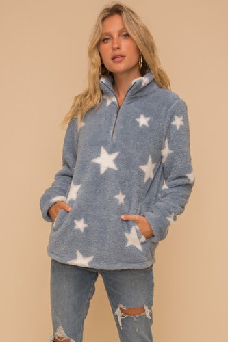 Star Print Fleece Pullover Jacket