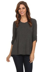 Solid Jerge 3/4 Sleeve Top