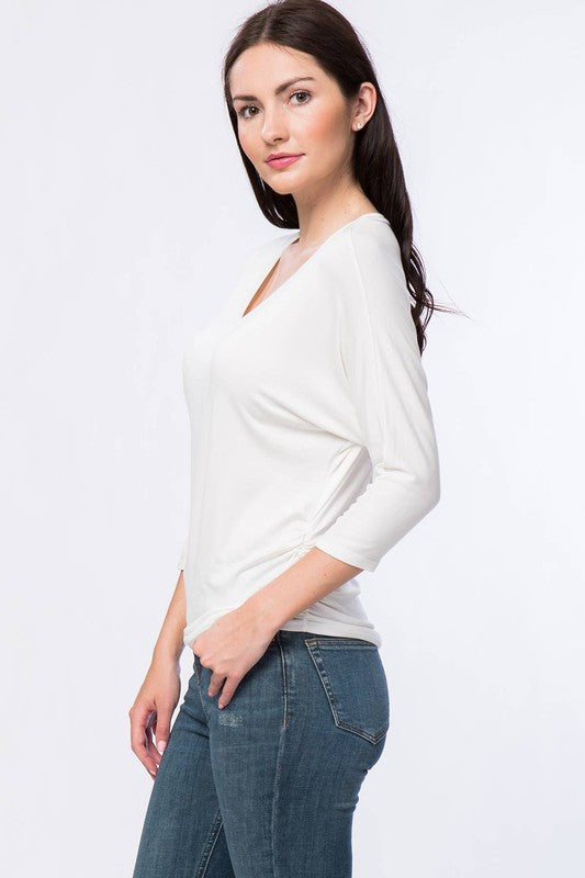 Basic dolman sleeve, V-neck top