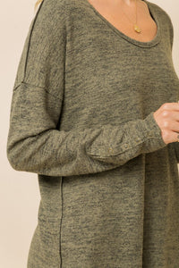 Dolman Top with Round Neck & Snap Button Sleeve