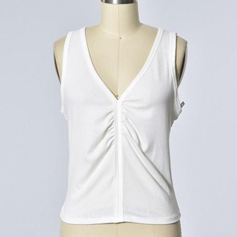 Sleeveless Front Gathered V-Neck Tank
