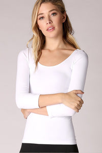 3/4 Sleeve Scoop Neck Plain Jersey