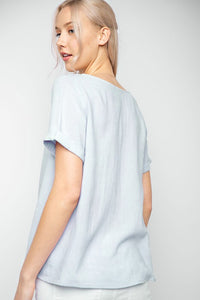 Short Sleeve Linen Light Weight Top