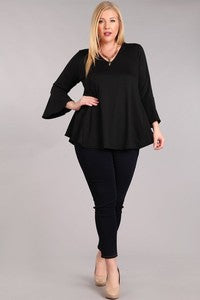 Bell 3/4 Sleeve Solid Knit Top