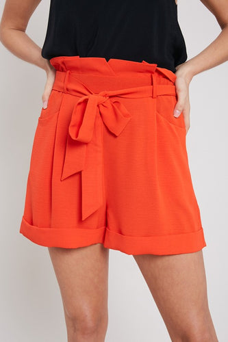 Paper Bag Style high waisted shorts w pockets