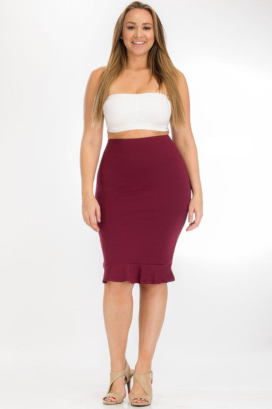 Pencil skirt ruffle hem burgundy