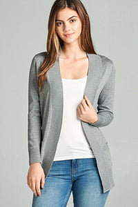 Open Sweater Cardigan with ribbed accents & pockets