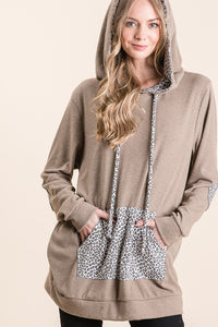 Animal Print Contrast Hoodie with Elbow Patch