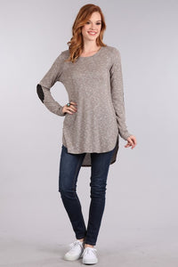 Ribbed knit top with long sleeves & faux suede elbow patches