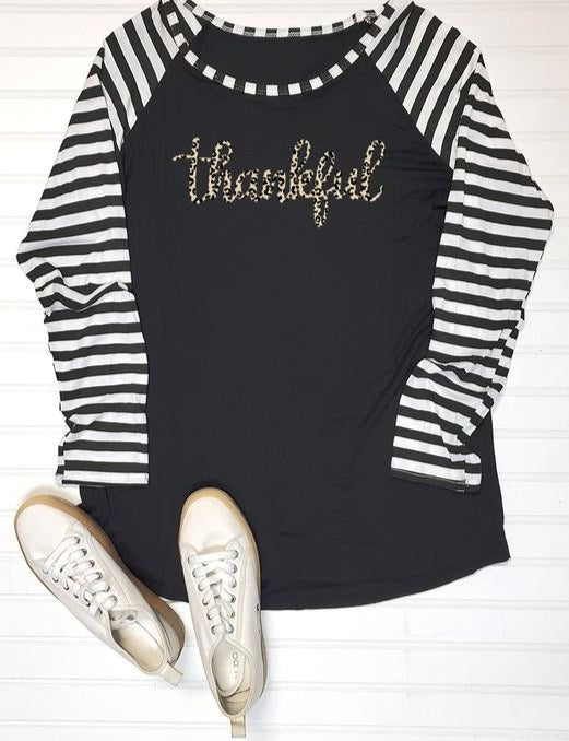 Thankful Leopard Print Long Sleeve Stripe Baseball Top