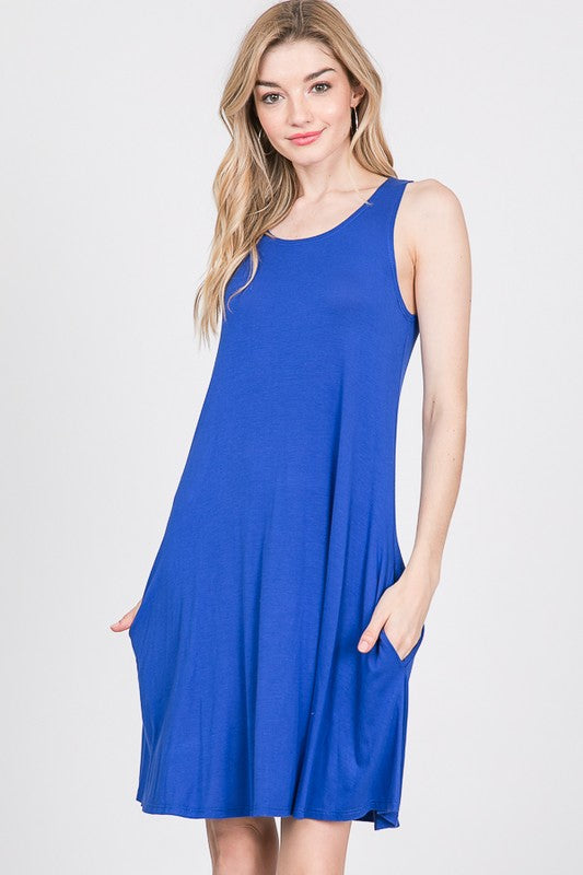 Royal Blue Sleeveless Tunic Dress