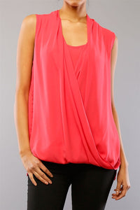 Sleeveless Crossover Open Front Tank Top