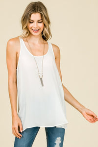 Sleeveless Chiffon Tank with Round neckline