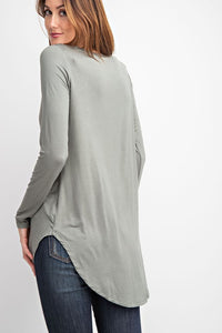 Basic Round Neck Knit Top with Hi/Low Hem