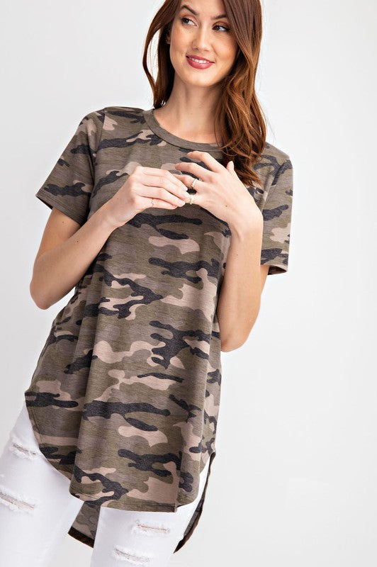 Camo Print Short Sleeve Top