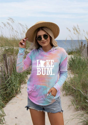 Lake Bum Minnesota Tie Dye Light Weight Hoodie