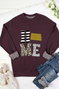 HOME Animal Print Gold Glitter State Patch Crew Neck