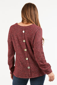 Two-tone soft knit long sleeve top with button back detail