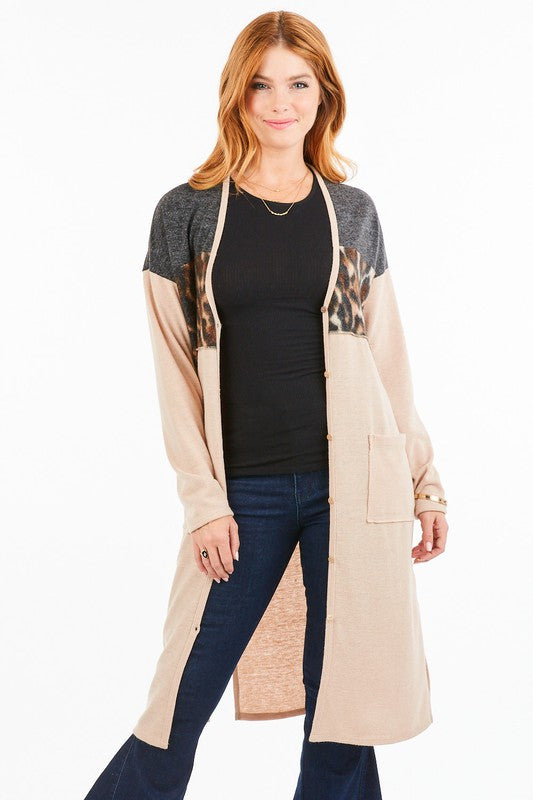 Color Block Cardigan w Leopard Detail