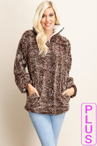 Faux Fur Sweater with Zip Up Mock Neck - Plus Size