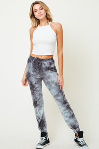 Fitted tie dye jogger pants with pockets and elastic waist