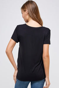 Cupro modal ultra soft side twist knot t-shirt (plus size)