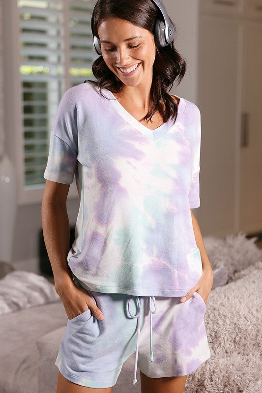 Tie Dyed Print Lounge Wear Set (Top & Bottom)