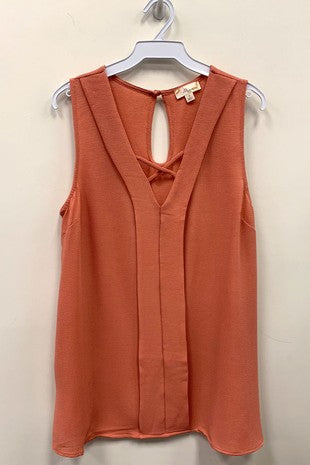 Sleeveless Top w Front Criss Cross Detail