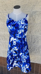 Blue Floral Printed Fit & Flare Dress