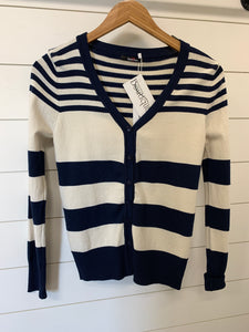 navy multi striped cardigan