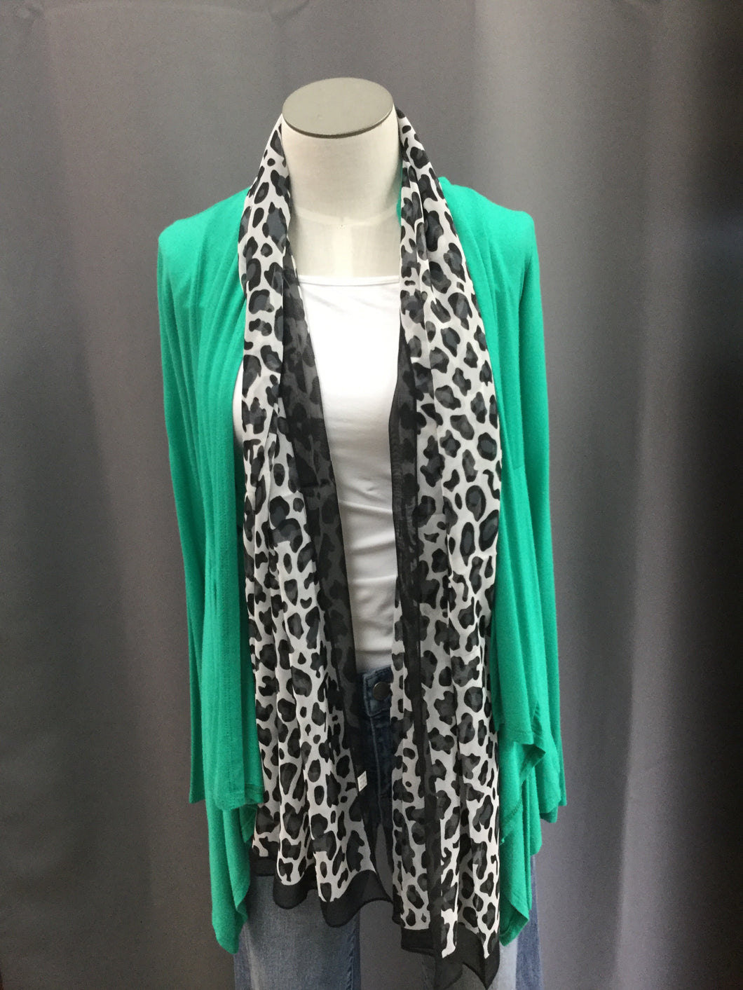 Kelly Green Open Front Cardigan