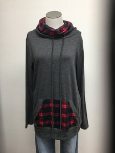 Tunic style top with plaid cowl neck & pocket detail