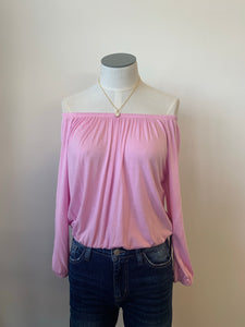 Pink off shoulder shirt
