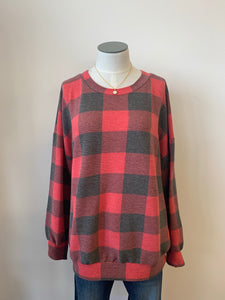 Plaid Top with Balloon Long Sleeves