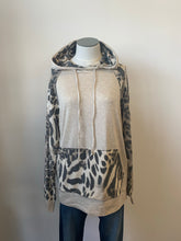 Animal Print and Solid Hooded Top