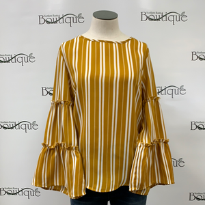 Mustard Blouse with Cream Stripes