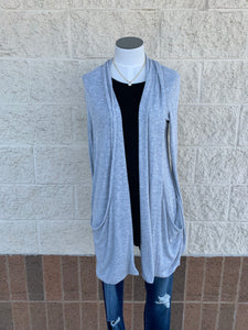 Marled knit long sleeve cardigan with shawl collar