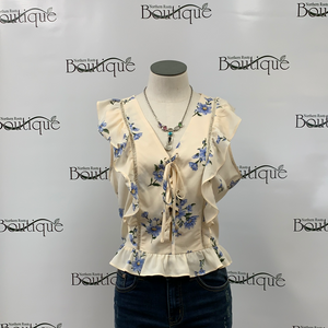 Cream Floral Shirt with Tie Up Front