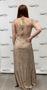 Taupe Lace long dress with flowers.