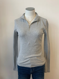Solid Long Sleeve Detail Ribbed 1/4 Zip Top
