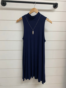 Solid sleeveless mini dress relaxed fit