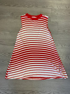 Stripe & sleeveless swing knit top with solid crew neck