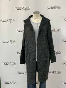 Cardigan, over-sized with safety pin accent